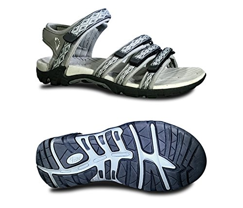 Viakix Womens Sport Sandals - Comfortable Athletic Walking Shoes for Outdoors, Water, Hiking, Beach Sandal,Grey,41 M EU / 11 B(M) - Sports Best Women