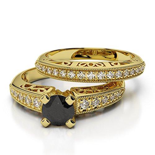 Or jaune 18carats 1/2ct G-H/VS sertie de diamants ronds Coupe Noir de mariage Bague de fiançailles et ensemble de Agdr-1160