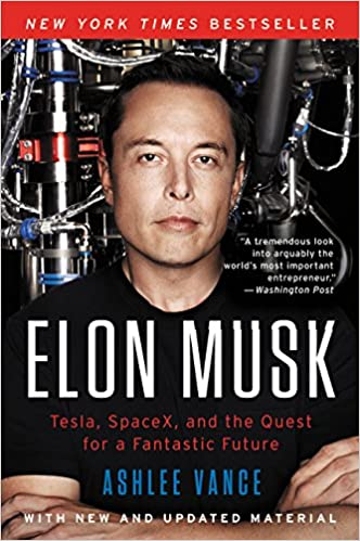 Picture of Elon Musk on book cover of his biography before transiting Saturn