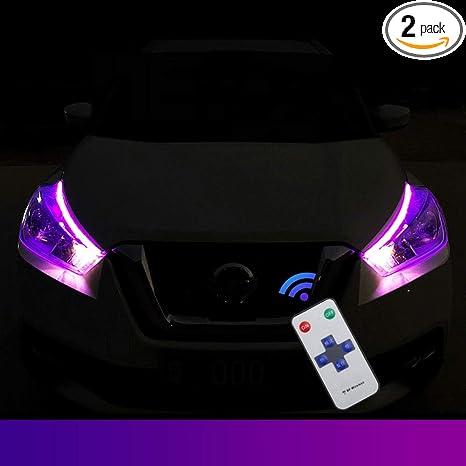 Amazon.com: 2 tiras de luces LED de color blanco y ámbar de ...