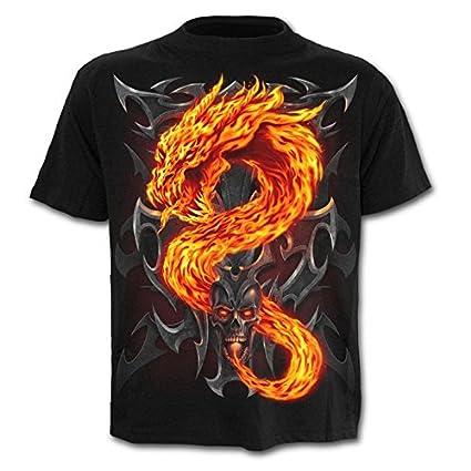 WHLTX Camisetas para Impresi/ón Digital En 3D con Cuello Redondo Hombres Drag/ón Moda Casual De Manga Corta