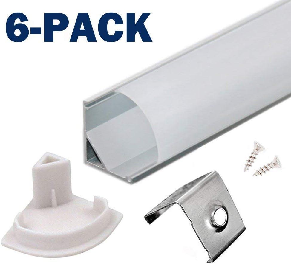 Profil LED 45° - 6x100cm LED Aluminium Profil für LED-Streifen/Leisten mit Weiß Milchige Abdeckung - Lichtleiste