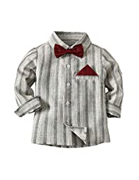 Fairy Baby Little Boy Gentleman Outfit Casual Long Sleeve Stripe Formal Shirt