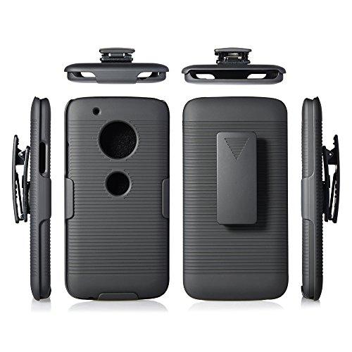 Motorola Moto G5 Plus Case, Microseven Moto G Plus (5th Generation) Black Rubberized Slim Hard Case Cover + Belt Clip Holster For Moto G5 PLUS (Black Shell Holster)