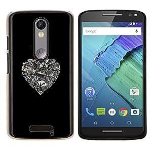 YiPhone /// Prima de resorte delgada de la cubierta del caso de Shell Armor - espejo del corazón del corazón negro Bling - Motorola Moto X3 3rd Generation