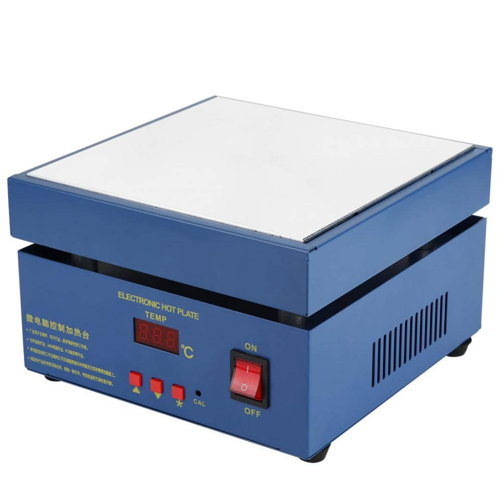 Akozon 200x200mm LED Microcomputer Electric Heating Plate Preheating Station 110/220V, Hot Plate PCB Preheater Preheating Oven AC 800W Soldering Station Welder(US Plug 110V)