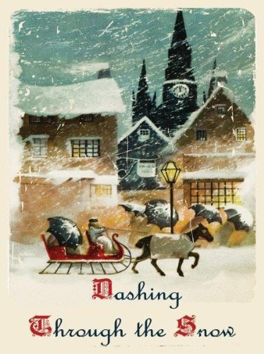 Dashing Through the Snow Metal Sign, Horse and Sleigh, Vintage Christmas Village Scene