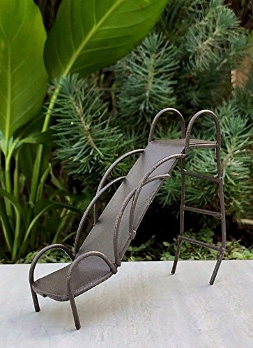 Miniature Bulb Slide Base (Miniature Dollhouse Fairy Garden Rustic Metal Vintage-Style Playground Slide)