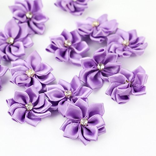 (HUELE 40pcs 20mm Purple Satin Ribbon Flowers Bows Rhinestone Wedding Ornament Appliques)