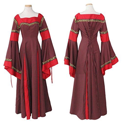 Mittelalterlichen Gothic Langen Rot Damen Cosplayitem Kleid Ärmeln Dirndlkleid Lang Viktorianischen tw5qxPT1