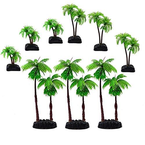M2cbridge 9pcs Plastic Coconut Tree Aquarium Plants Ornament Mini Resin Artificial Palm Tree by M2cbridge