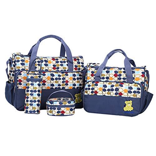 Rakkiss 5 PC Women Multifunction Mummy Bag Handbags Maternity Baby Carriage Bag Dark Blue