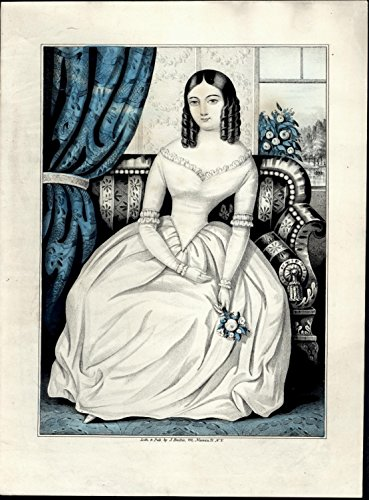 Woman couch flowers in her hand ca.1850 J. Baillie NYC antique lithograph print - Antique Nyc