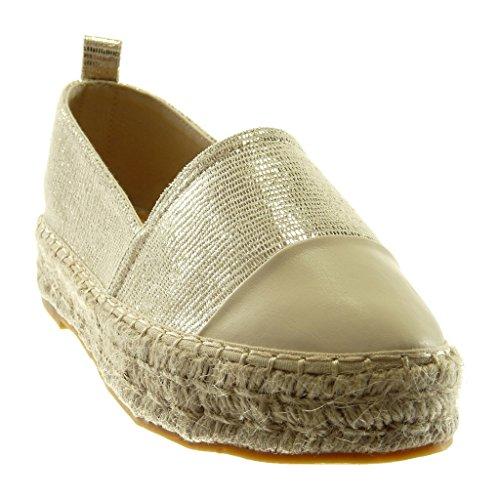 Bloc 5 Finition Plateforme Beige Brillant Cordon Slip Talon Surpiqûre Bi Espadrilles Mode Cm Angkorly on Chaussures Féminine De Coutures Matériau 3 wzC7qgZUx