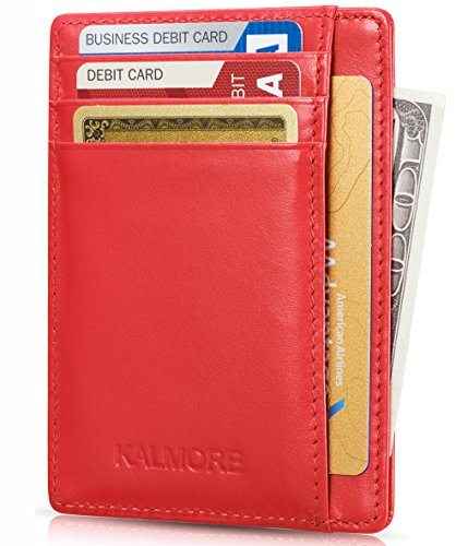 KALMORE Card Case RFID Protected Genuine Leather Front Pocket Slim Wallet Credit Card Holder with ID Window, Red