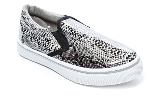Pink Label Girl's Slip-On Snakeskin Sneaker In Black Size: 11 - Kid Snake Girl Sneaker