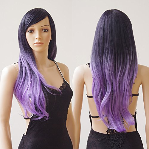 28'' / 70cm Curly Synthetic Wig Purple Ombre 2 Tone Color Japanese Kanekalon Fiber Heat Resistant Full Wig with Bangs Long Wavy Costume Wigs Dip-dye+Stretchable Elastic Wig Net (Black Purple (Wigs Purple)