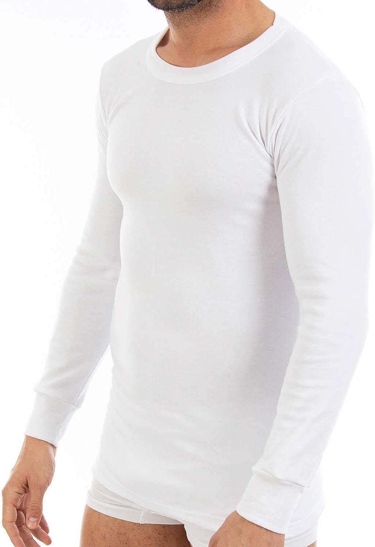 Camiseta Interior Termal de Hombre L101 Pack Ahorro de 6 Unidades Manga Larga y Cuello de Redondo.