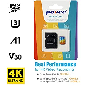 128GB Micro SD Card with Adapter,U3 A1 MicroSDXC Card 667X High Speed Up to 100MB/s UHS-I MicroSD UHS-1 Memory Card for Android Smartphone Nintendo Galaxy Fire and Gopro