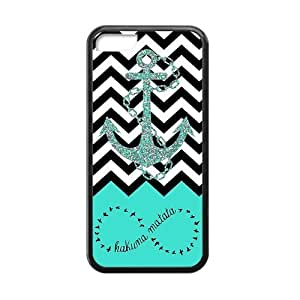 iPhone 5C Case,Hakuna Matata Infinity Anchor Aztec Tribal Pattern High Definition Personalized Design Cover With Hign Quality Rubber Plastic Protection Case