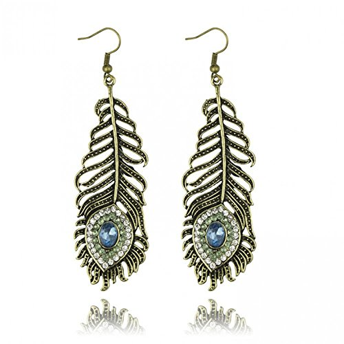 Necklace Bronze Cultured - Design Luxury Peacock Feather Crystal Drop Earrings Bronze Earrngs For
