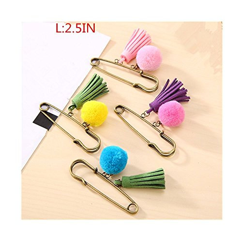 Lilith li Sweet Wool Ball Temperament Tassels Large Safety Pin 4pcs / set(YMQ)