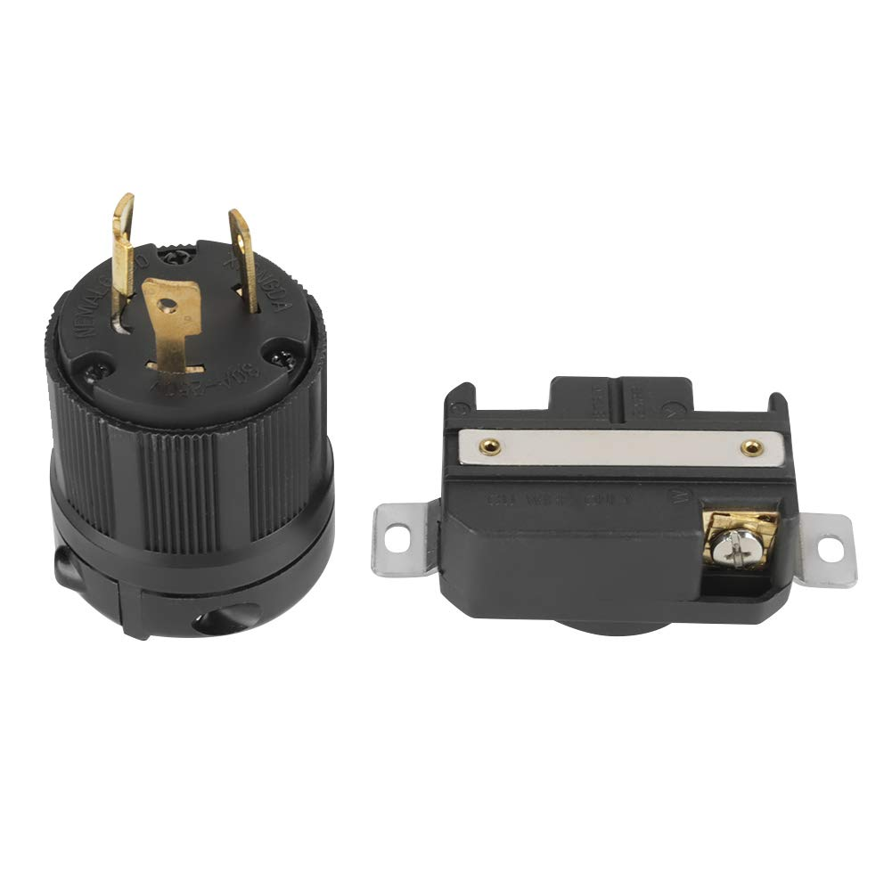 NEMA L6-30P L6-30R 30A 250V Twist Lock Electrical 3 Pin Plug Receptacle Connector Male & Female Wal front
