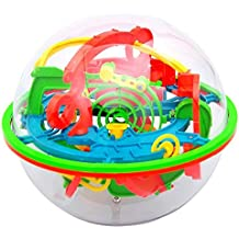 Barriers 3D Labyrinth Magic Intellect Ball Balance Maze Developmental Toys Early Learning Skills Educational For Toddlers Kids Game Puzzle Gift Pretend Toy Growing Expreiment Toy (Random) (Red)
