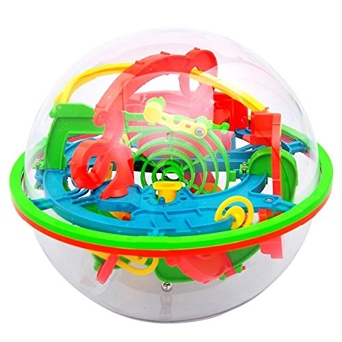 Intellect 3D Maze Ball, 100 Challenging Barriers 3D Labyrinth Ball for Kids 3D Puzzle Toy Brain Teasers Puzzle Toy (Red) ()