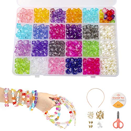 Beads Set(500pcs), DIY Bracelets Necklaces Beads Crystal Beads in Shapes of Diamond for Jewellery Making for Kids Bead Necklace Bracelet Making Kit As Beads Gift Kit for Girls ()