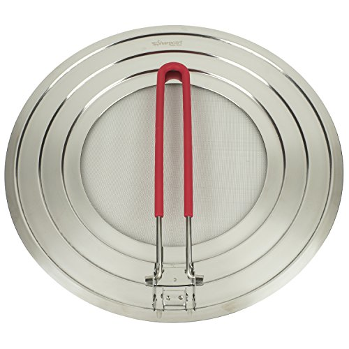Splatter Screen with Folding Silicone RED Handle Stainless Steel - Perfect Cooking Premium Grease Guard - 100% Satisfaction Guarantee (Red Silicone Grip)