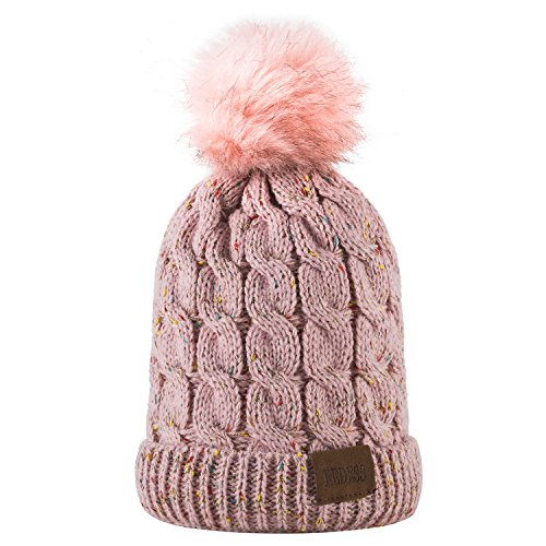 Kids Winter Warm Fleece Lined Hat, Baby Toddler Children's Beanie Pom Pom Knit Cap for Girls and Boys by REDESS (A Confetti Pink Design)