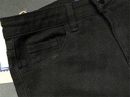 Pantaloni Byjia Personalità Denim Black Vita Sottile Pantalone Disco Leggera Tasca Stretch Irregolari Giacca Skinny Fori zHrqTYwH