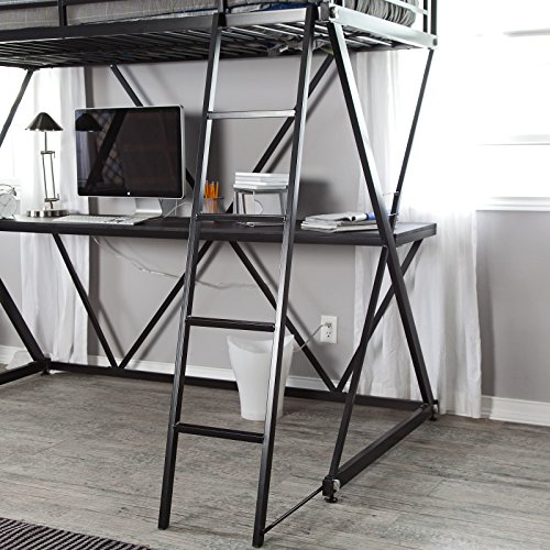 Black Modern Metal Bunk Bed Loft with Desk | Perfect Contemporary Space Saving Bed and Sturdy Study or Storage Desk Furniture Set for Your Child, Teen Boys or Students | Spacious Desk Space for a PC, Laptop, Netbook and School Supplies by Gramercy Home (Image #4)