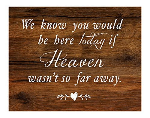 2 City Geese Memorial Wedding Sign | Rustic Wood Look On Linen Textured Thick Cardstock Paper | in Memory of Loved Ones | We Know You Would Be Here Today Table Signs -