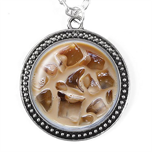 Iced Coffee Necklace, Silver Pendant with Domed Glass (Starbucks Coffee Costume)