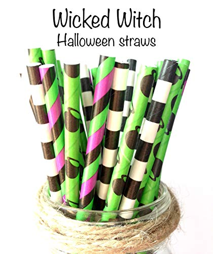 Black, purple and green paper straws-(set of 25)- wicked party, goosebumps party, witch caldron, witch legs, Halloween party ()