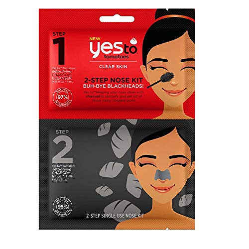Yes To Tomatoes 2-Step Nose Kit - Single Use | Step 1 - Detoxifying Charcoal Cleanser | Step 2 - Detoxifying Nose Strip | Remove Dirt and Clogged Pores