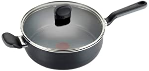 T-fal A68833 Soft Sides Nonstick Thermo-Spot Dishwasher Safe Oven Safe Saute Pan/Jumbo Cooker Cookware, 4.2-Quart, Black