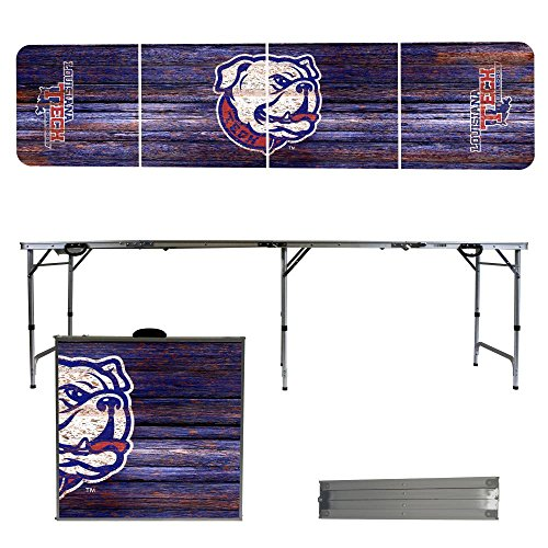 Louisiana Tech University Bulldogs 8 Foot Portable Folding Tailgate Table Weathered (Tech Tailgate Pong Table)