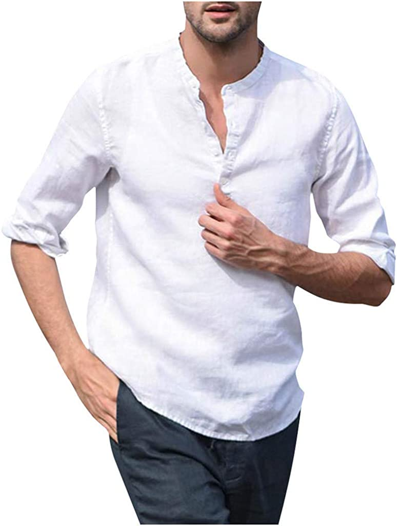 Mens Linen Plain T-Shirt Slim Fit Buttoned Casual Shirt Top Blouse Tee Siz M-2XL