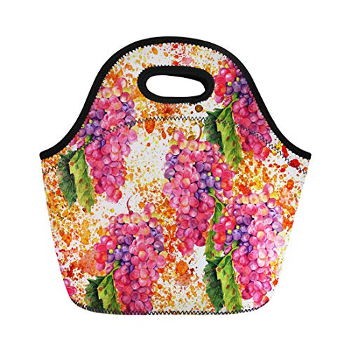 Semtomn Neoprene Lunch Tote Bag Vintage Watercolour Drawing of Vibrant Bunch Wine Grapes Green Reusable Cooler Bags Insulated Thermal Picnic Handbag for Travel,School,Outdoors,Work