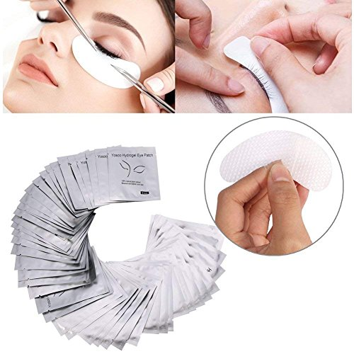 3x100 Packs- Under Eye Pads Lint Free Lash Extension Eye Gel Patches & Eyelash Mascara Brushes Wands Applicator Makeup Brush (300pck) by XIAOYA (Image #1)