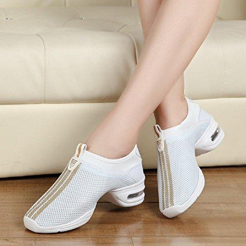 D2c Beauty Mujeres Mesh Slip-on Transpirable Dance Sneakers Blanco