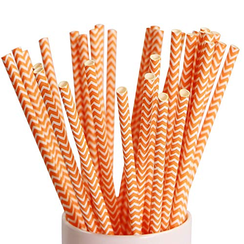 Webake 100 Pack Chevron Paper Straws Wave Patterned Drinking Straws Bulk 7.75 Inch Disposable Biodegradable Restaurant Supplies Party decoration - Orange Striped