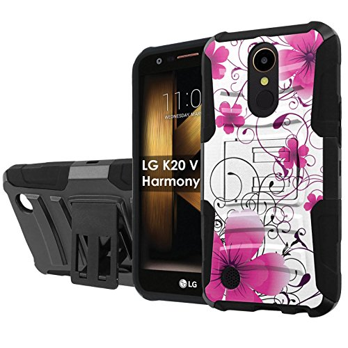 "LG [K20 V/K20 plus] LG Harmony [NakedShield] [Black/Black] Defender Combat Armor Case [KickStand] [Holster] – [Hot Pink Flower] for LG [K20 V/K20 plus/Harmony] [5.3 "" Screen]"