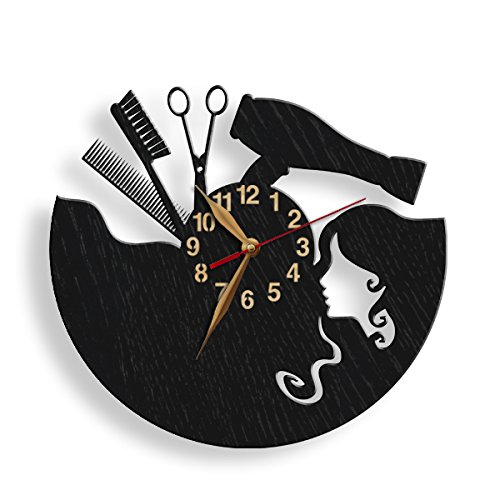 monastar Beauty Salon Wall Clock -Select Size, Personalized- Wood Big Hair Studio Ladies' Hairdresser Gift Hairstylers Hair Spa Fashion Haircut Styling Hairdressing Studio Wooden Wall Art Décor