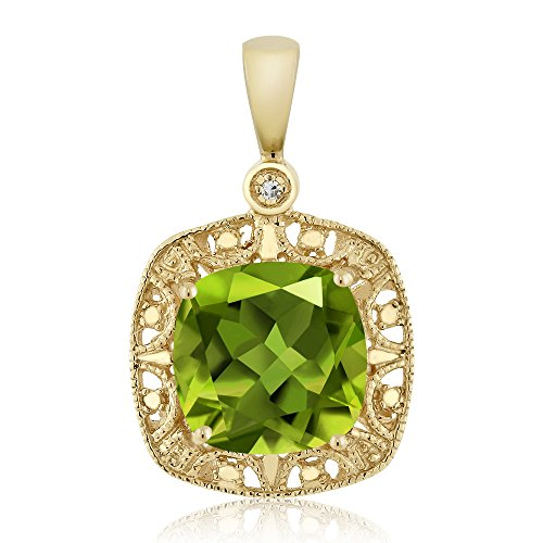 Gem Stone King 10K Yellow Gold Women's Cushion Green Peridot and Diamond Accent Pendant Necklace (2.45 cttw, 8MM Center) (10k Peridot Necklace)