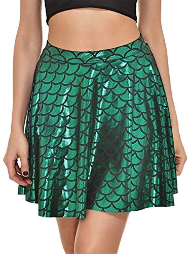 Alaroo Womens Stretchy Fish Scale Mermaid Print Flared Skirt S-4XL