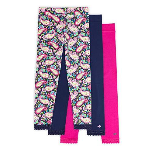 Jada Toddler Leggings for Little Girls, 3 Pack, Tagless, Lace Trim, Full Length, Pink/Navy/Paisley Print, 2/3 ()